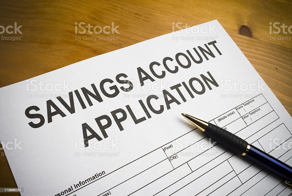 Savings account application royalty-free stock photo