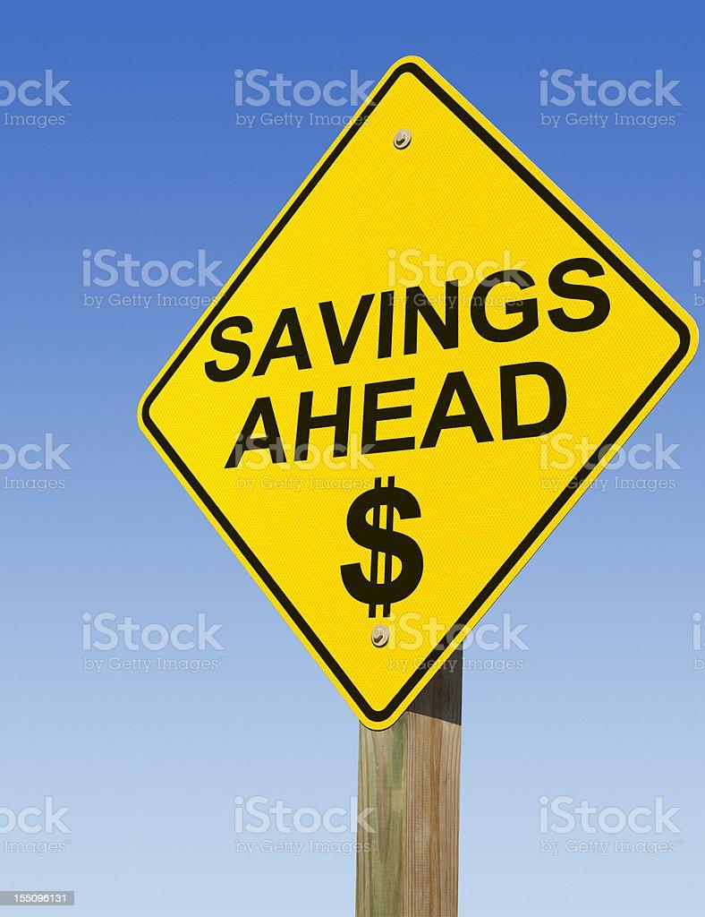 Savings Ahead Road Sign royalty-free stock photo