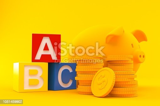 Savings background with toy blocks in orange color. 3d illustration