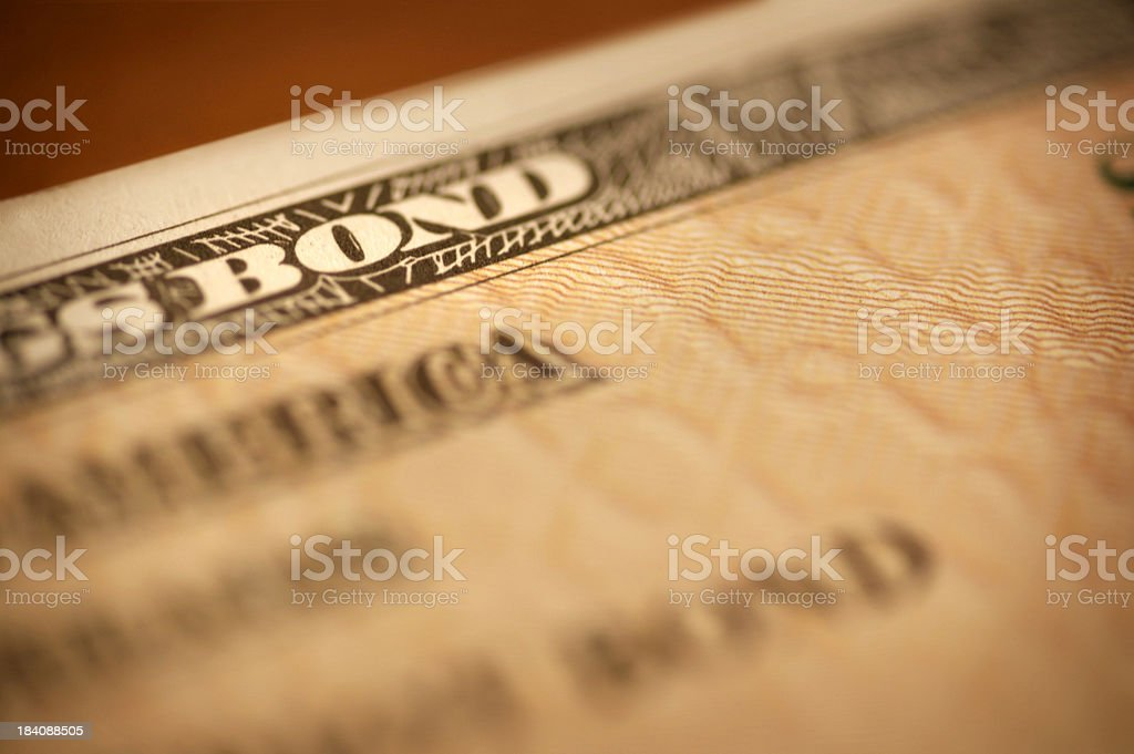Savings Bond Close Up royalty-free stock photo