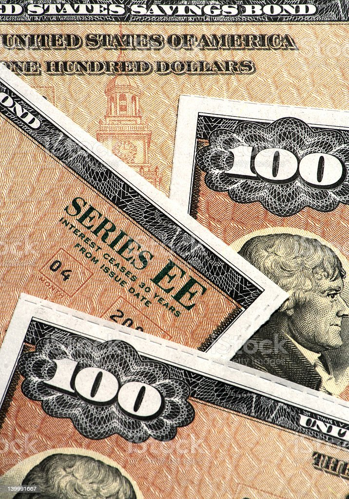 US Savings Bonds Closeup royalty-free stock photo