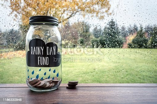 Savings for a rainy day fund glass jar with money