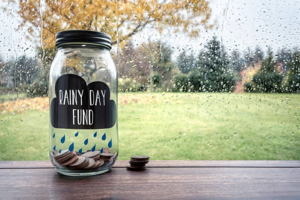 Savings for a rainy day fund stock photo