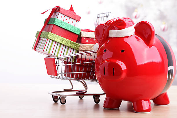 Savings for Christmas Shopping stock photo