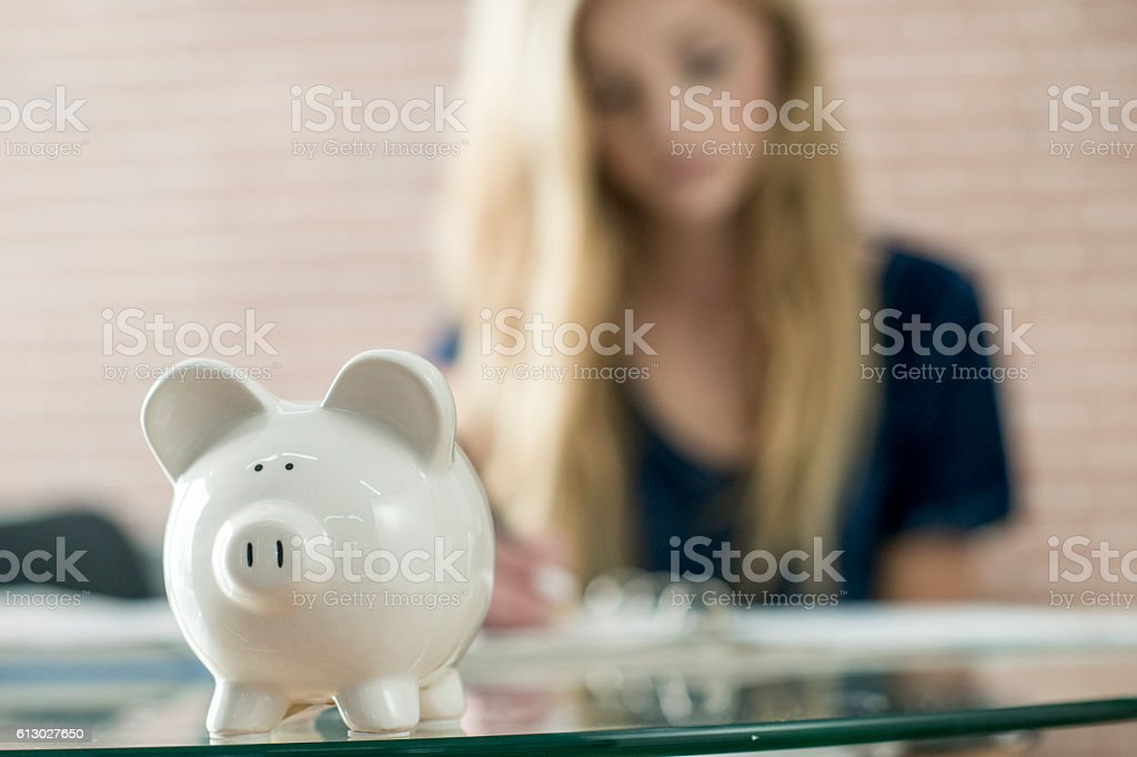 Savings in a Piggy Bank stock photo