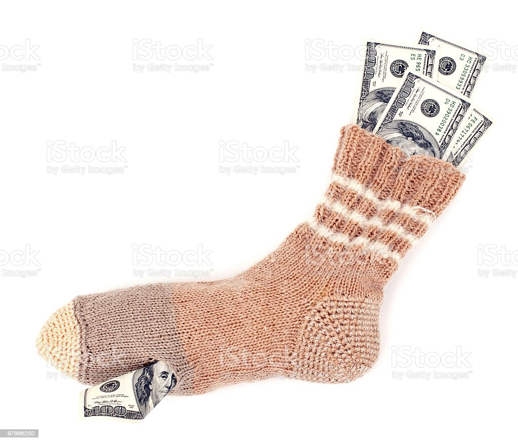 Savings in the sock royalty-free stock photo