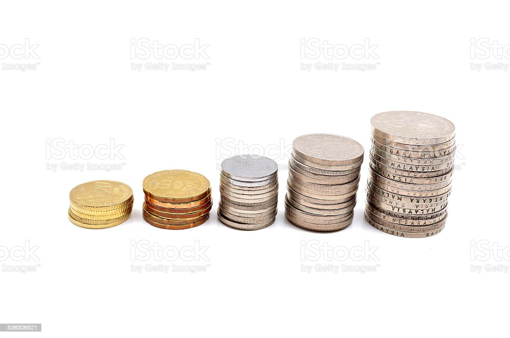 Savings Increasing Columns Of Coins Isolated On White