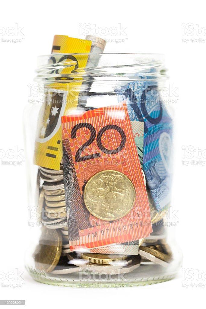 Savings Jar with Australian Money stock photo