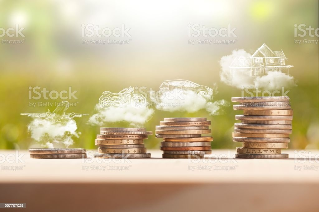 savings money coins stack - foto de stock