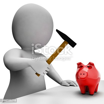 Save Savings Showing Piggy Bank And Shop 3d Rendering