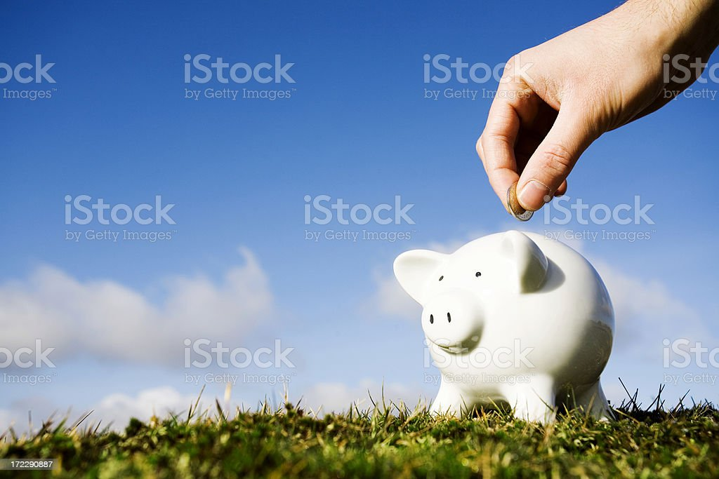 Savings Piggy bank being loaded Agricultural Field Stock Photo