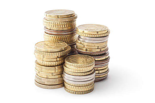 Savings Money Stack, Savings, Isolated On White, Clipping Path european union coin stock pictures, royalty-free photos & images