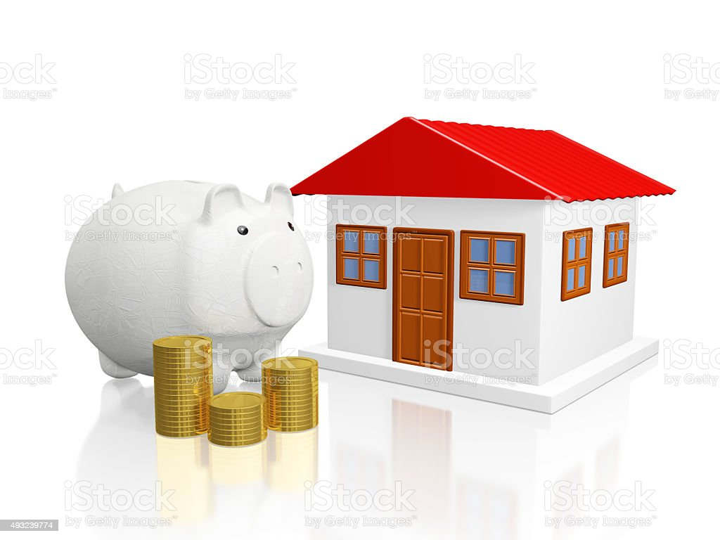 Savings Piggy Bank Gold Coins and House stock photo
