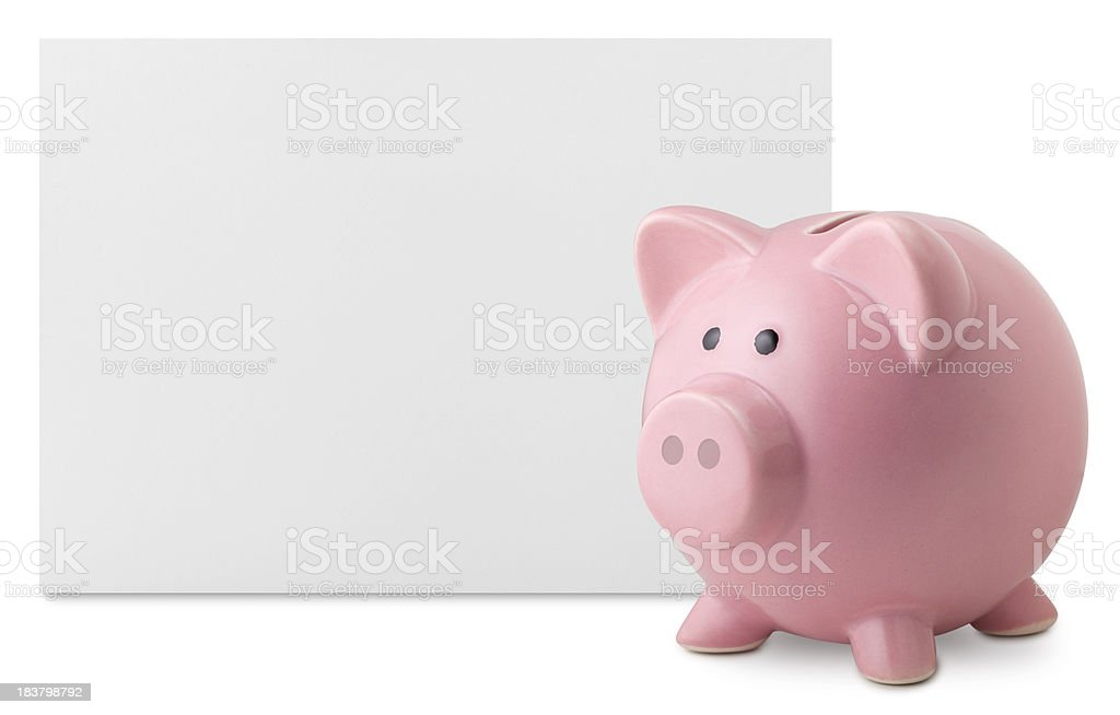 Savings. Piggy bank with blank note. royalty-free stock photo