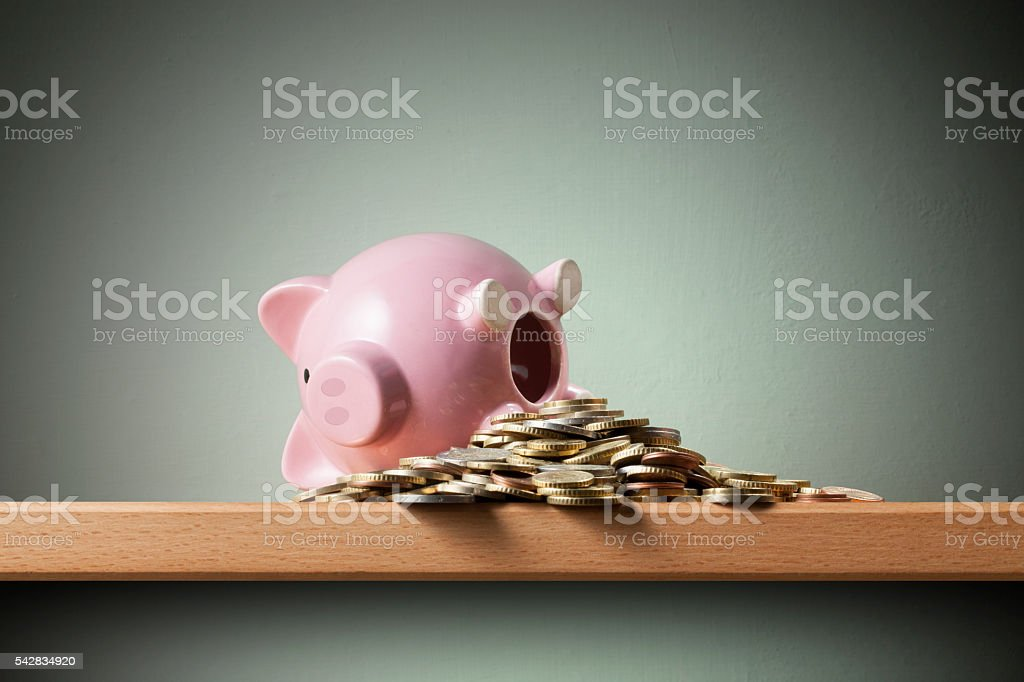 Savings. Piggy bank with coins stock photo