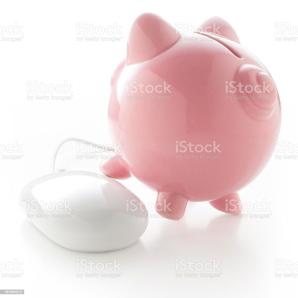 Savings. Piggy bank with computer mouse. royalty-free stock photo