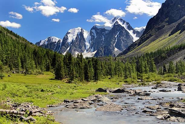savlo szavlo valley i ściana skalna-góry ałtaj, rosja - państwowy rezerwat przyrody altay zdjęcia i obrazy z banku zdjęć