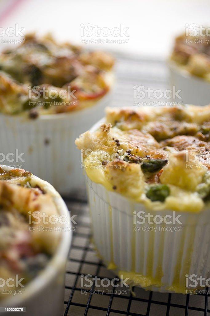 Savory bread pudding stock photo