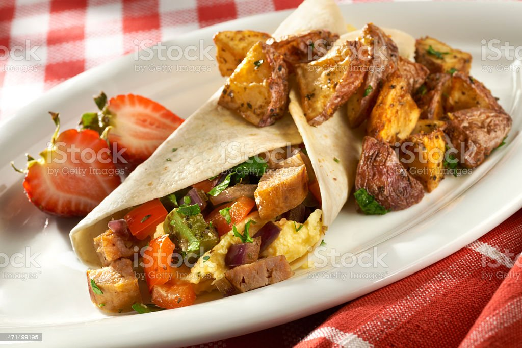 Savory Breakfast Burrito stock photo
