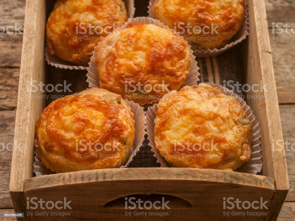 Savory cheese and bacon muffins 免版稅 stock photo