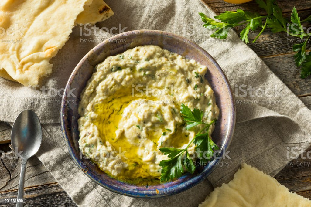 Savory Homemade Mediterranean Baba Ganoush stock photo