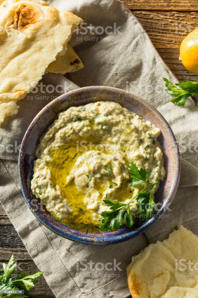 Savory Homemade Mediterranean Baba Ganoush stock photo