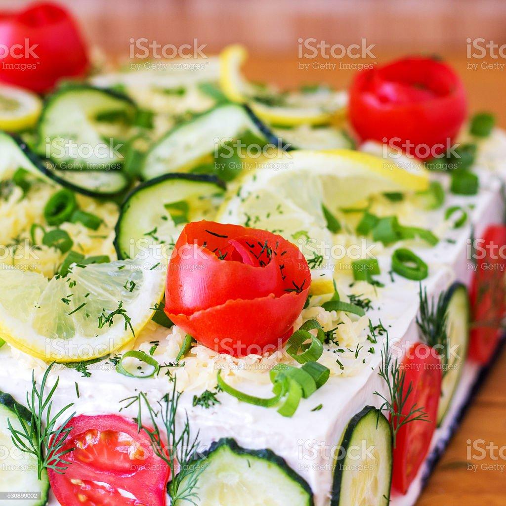 Savory Sandwich Cake (Smörgåstårta) stock photo