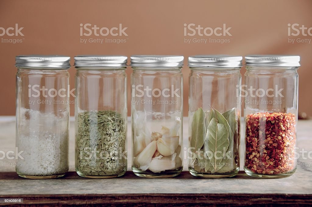 Savory Spices in Jars royalty-free stock photo