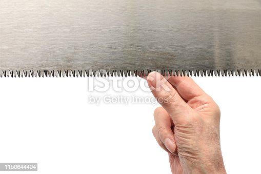 Saw blade and hand with copy space.