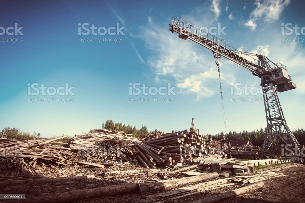 Saw mill with crane stock photo