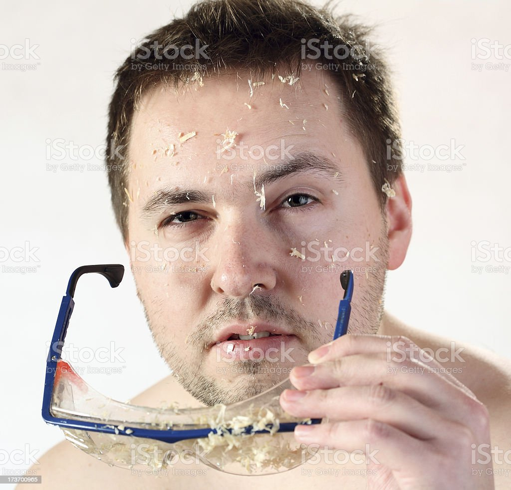 Sawdust on face. royalty-free stock photo