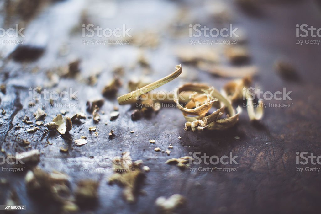 sawdust on wooden surfase stock photo