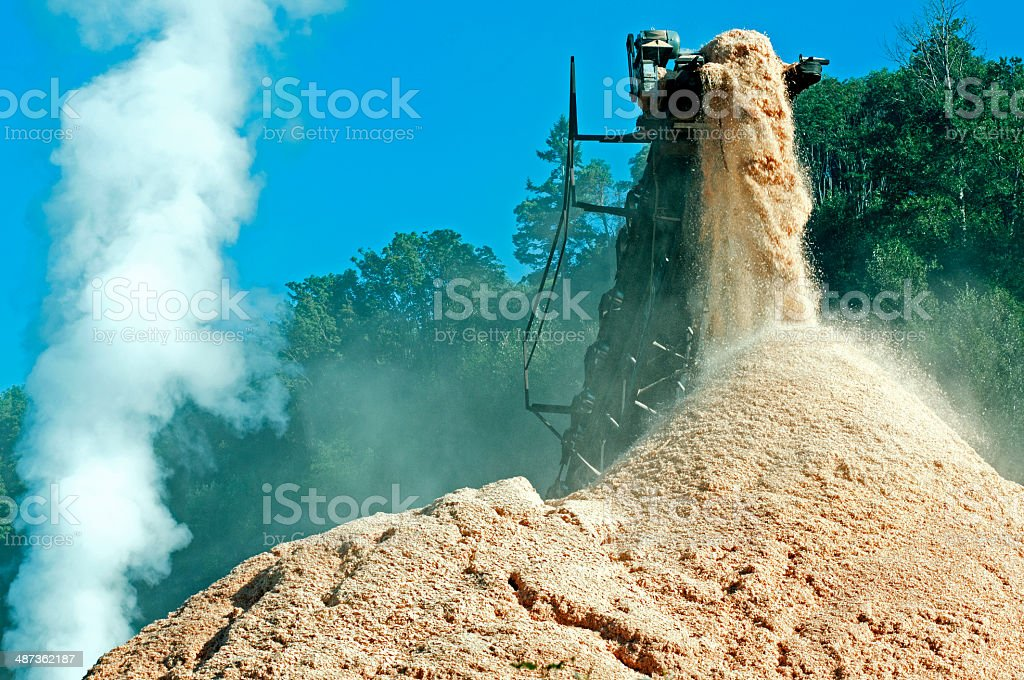 Sawdust pouring from conveyor built onto pile at mill stock photo