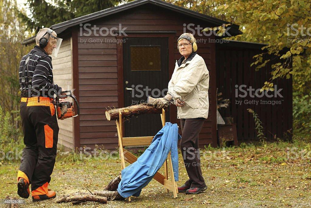 Sawing preparation stock photo