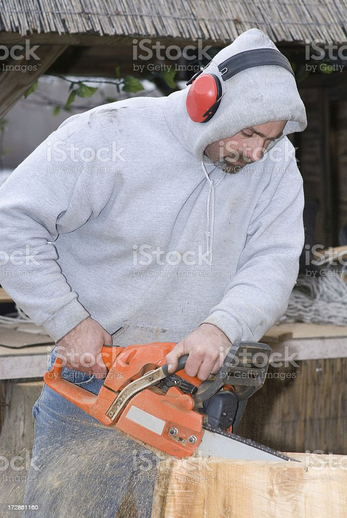 Sawing Wood royalty-free stock photo