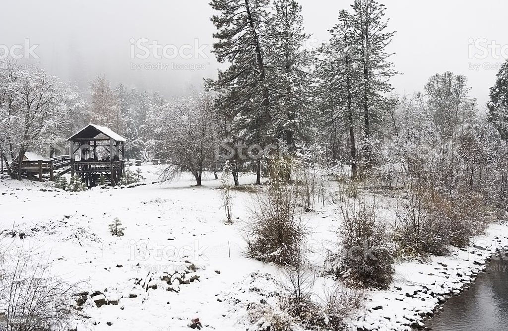 Sawmill in the Snow royalty-free stock photo