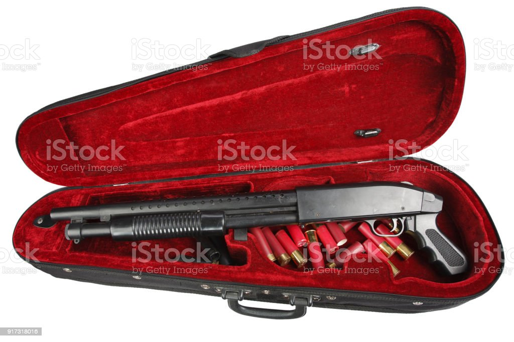 Sawn-off shotgun with cartridges in violin case stock photo