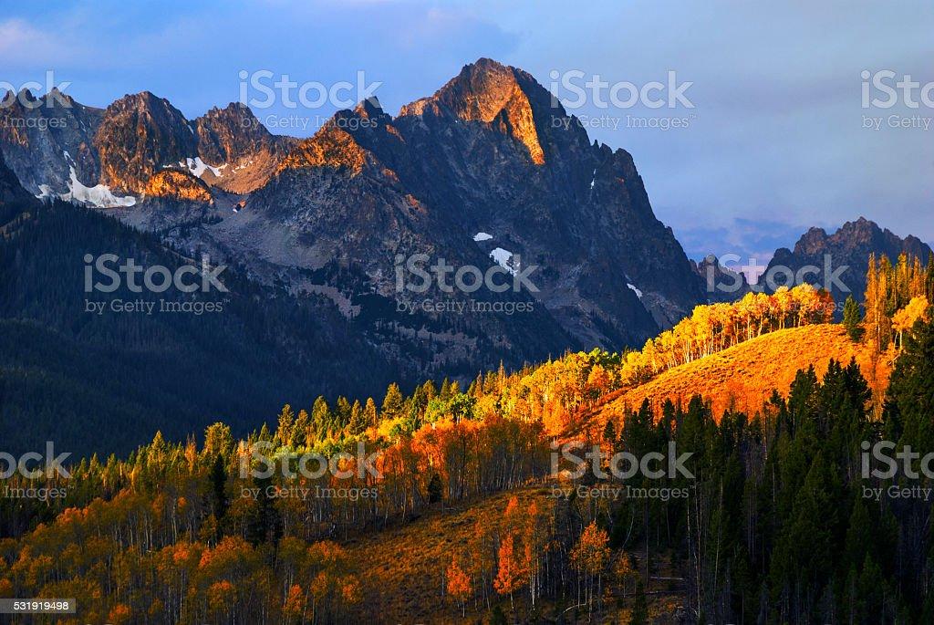 Sawtooth Autumn Stanley Idaho USA stock photo