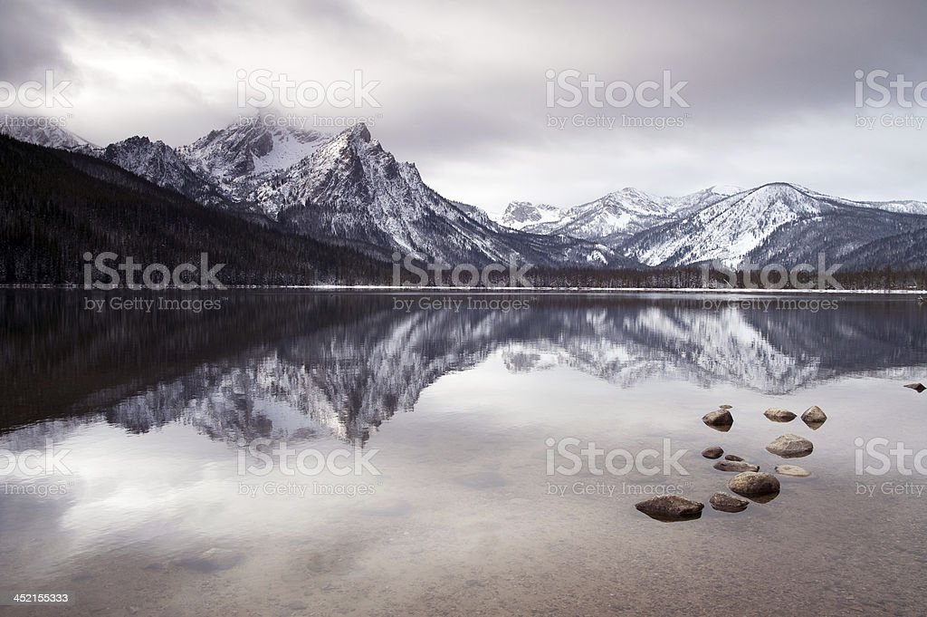 Sawtooth Mountain Lake in the Idaho National Recreation Area stock photo