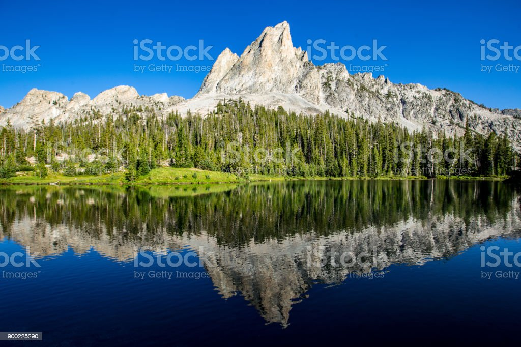Sawtooth Mountains and Alice Lake stock photo