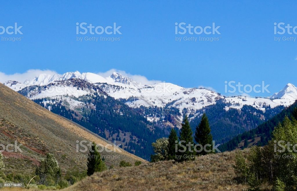 Sawtooth Mountains in September stock photo