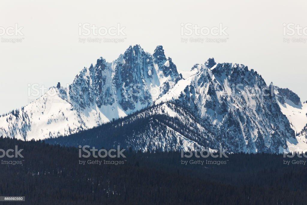 Sawtooth Mountains with Snow stock photo