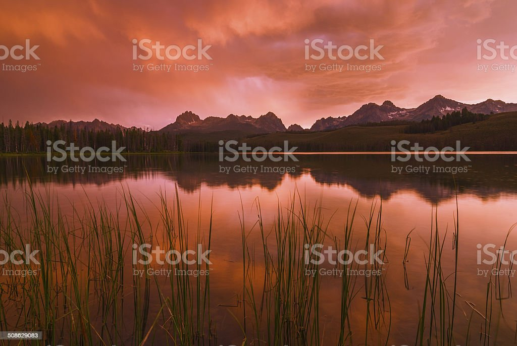 Sawtooth sunset in Stanley, Idaho stock photo