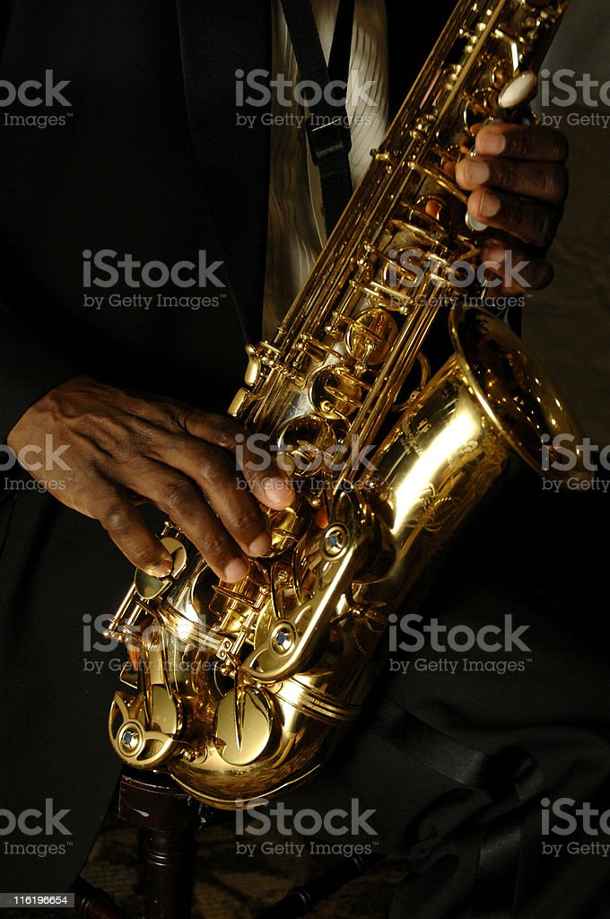 sax and hands royalty-free stock photo