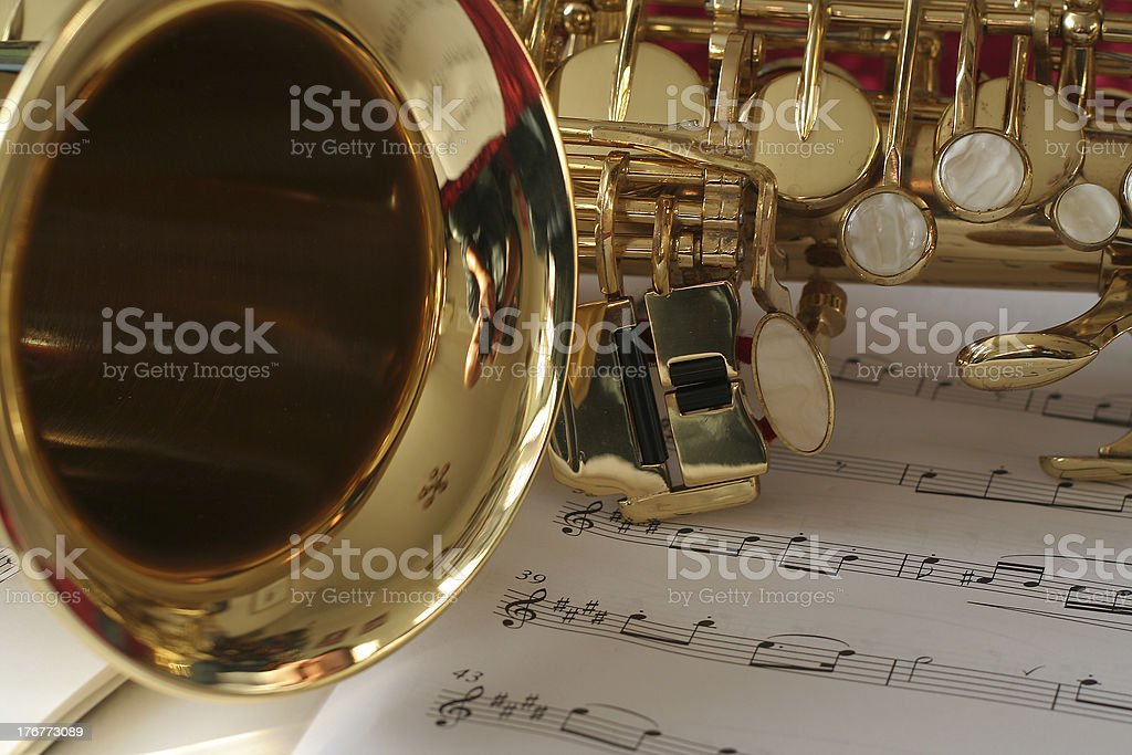 Sax and music stock photo