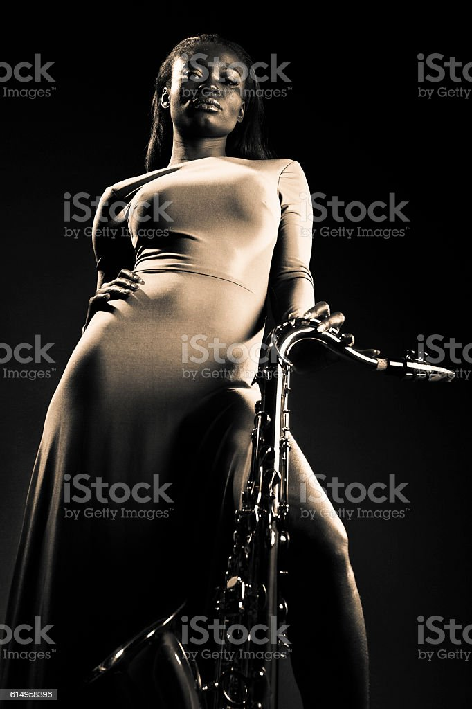 Sax Lady stock photo