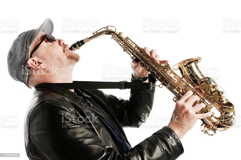 Sax player royalty-free stock photo