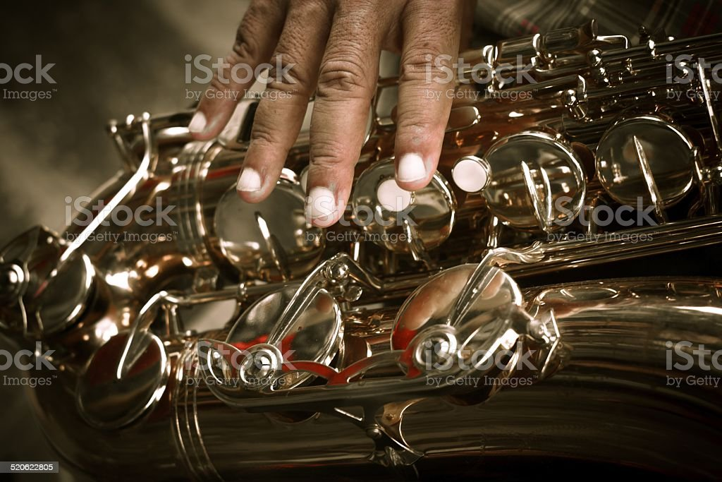 Sax player stock photo
