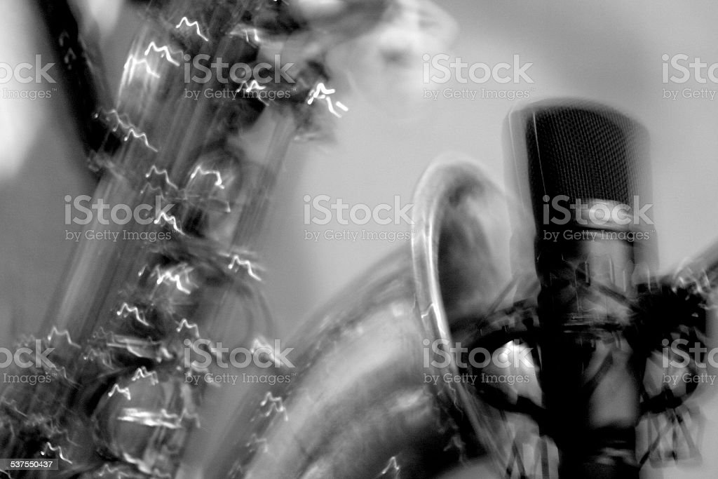sax VS microphone BN stock photo