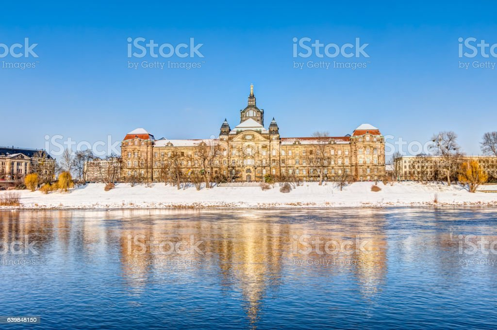 Saxon State Chancellery in Dresden in winter stock photo